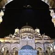 Mosque Yeni Camii At Night Art Print