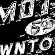 Motel Sign Black And White Art Print