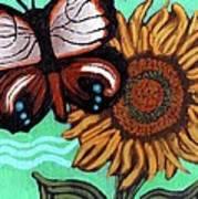 Moth And Sunflower Art Print