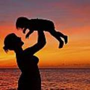 Mother And Child Sunset Silhouette Art Print