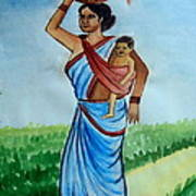 Mother And Child Art Print by Tanmay Singh