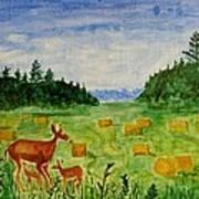 Mother Deer And Kids Art Print