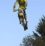 Motocross Rider Jumping High Art Print by Matthias Hauser