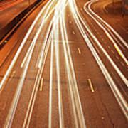 Motorway Light Trails Print by Richard Newstead