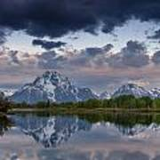 Mount Moran Under Black Cloud Art Print