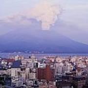 Mount Sakurajima Erupting In Front Of Art Print