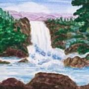 Mountain Falls Art Print by Jeanette Stewart