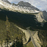 Mountain Peaks Along The Icefields Art Print