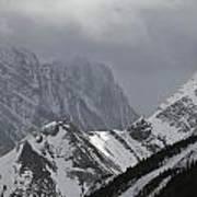 Mountain Peaks In Clouds, Spray Lakes Art Print