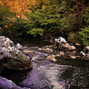 Mountain River With Rocks Art Print