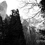 Mountains Of Yosemite . 7d6213 . Black And White Art Print