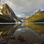 Mountains Reflected In Lake Louise Art Print