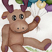 Mr Moose With Balloons Art Print by Vikki Wicks