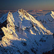 Mt Cook Or Aoraki And Mt Tasman, Aerial Art Print