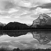 Mt. Rundel Reflection Black And White Art Print