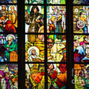 Mucha Window St Vitus Cathedral Prague Art Print by Matthias Hauser