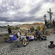 Musicians On The Charles Bridge - Prague Art Print