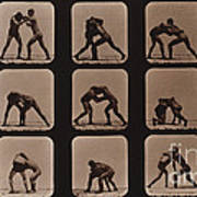 Muybridge Locomotion, Men Wrestling Art Print