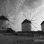 Mykonos Windmills Art Print by Leslie Leda