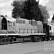 Napa Valley Railroad Wine Train Locomotive In Napa California Wine Country . Black And White . 7d899 Art Print