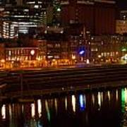 Nashville River Front By Night 1 Art Print