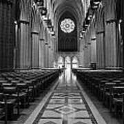 National Cathedral Interior Bw Art Print