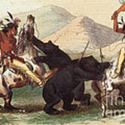 Native American Indian Bear Hunt, 19th Art Print