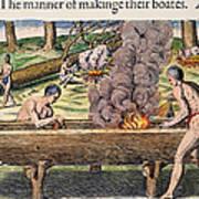 Native Americans: Canoe, 1590 Art Print