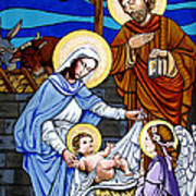 Nativity At Valley Ranch Art Print by Joan Garcia