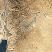 Natural-color Satellite View Of Amman Art Print