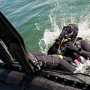 Navy Diver Dives Into San Diego Bay Art Print