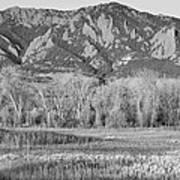Ncar And Flatiron View Boulder Colorado Bw Art Print