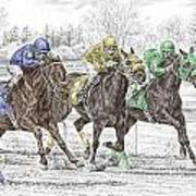 Neck And Neck - Horse Race Print Color Tinted Art Print