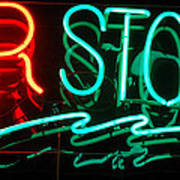 Neon Bar Stools Art Print by Steven Milner