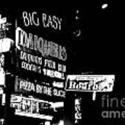 Neon Sign Bourbon Street Corner French Quarter New Orleans Black And White Conte Crayon Digital Art Art Print