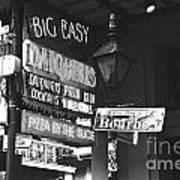 Neon Sign On Bourbon Street Corner French Quarter New Orleans Black And White Film Grain Digital Art Art Print