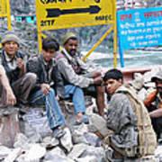 Nepali Labourers At Devraprayag Art Print