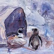 Nesting Penguins Art Print