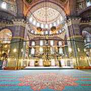 New Mosque Interior In Istanbul Art Print