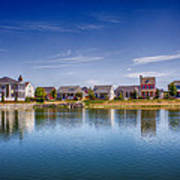 New Town On The Lake Art Print by Bill Tiepelman