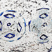 New Year Rolls Around With Abstracted Splatters In Blue Silver White Representing Snow Excitement Art Print