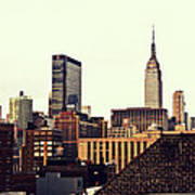 New York City Rooftops And The Empire State Building Art Print