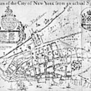 New York Map, 1730 Art Print
