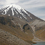 Ngauruhoe Cone And Upper Tama Lake Art Print