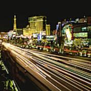 Night Exposure Of The Strip On Las Art Print