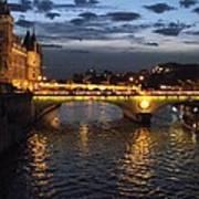Night Fall Over The Seine Art Print