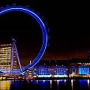 Night Image Of The London Eye And River Thames Art Print