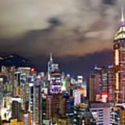 Night View Of Hong Kong Island Art Print