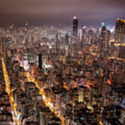 Night View Of Kowloon Print by Ray Cheung