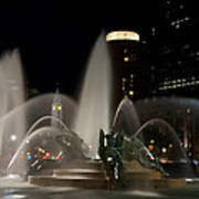 Night View Of Swann Fountain Art Print by Bill Cannon